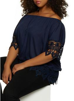 Plus Size Off the Shoulder Crochet Trim Top | 9406038340695 - 9406038340695