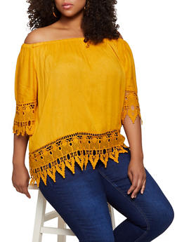 Plus Size Off the Shoulder Crochet Trim Top   9406038340695 - 9406038340695