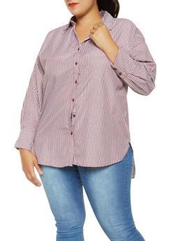 Plus Size High Low Button Front Shirt - 9406051066036