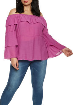 Plus Size Off the Shoulder Tiered Sleeve Top - 9406056124290