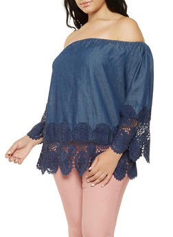 Plus Size Chambray Off the Shoulder Top - 9406056126473
