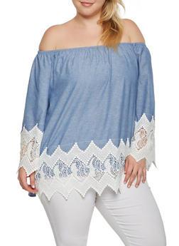 Plus Size Off the Shoulder Crochet Trim Top - 9406056128652