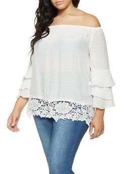 Plus Size Crochet Trim Off the Shoulder Top - 9406056129800
