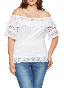 Plus Size Lace Off the Shoulder Top - 9406062700657