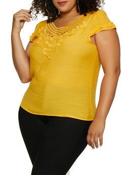 Plus Size Crochet Trim Ruffled Cap Sleeve Top - 9406062702975