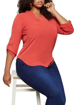 Plus Size Crepe V Neck Blouse - 9406062702981