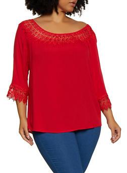 Plus Size Crochet Detail Top - 9406062703061