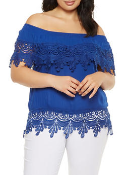 Plus Size Off the Shoulder Crochet Trim Top - 9406062705390