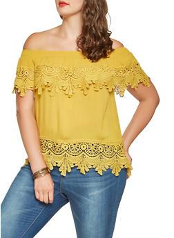Plus Size Off the Shoulder Crochet Trim Top - 9406062705390
