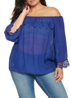 Plus Size Gauze Knit Off the Shoulder Top - 9406062705459