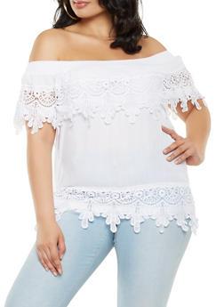 Plus Size Crochet Trim Off the Shoulder Top - 9406062705477