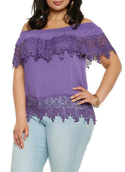 Plus Size Crochet Trim Off the Shoulder Top - 9406062705477