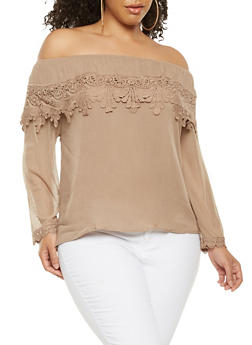 Plus Size Crochet Trim Off the Shoulder Top - 9406062705478