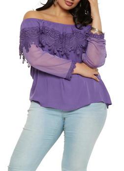 Plus Size Crochet Trim Off the Shoulder Top - 9406062705478