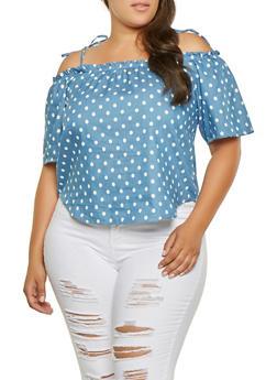 Plus Size Polka Dot Off the Shoulder Top - 9406064467533