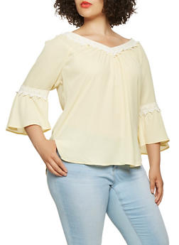 Plus Size Crochet Trim Slit Sleeve Top - 9406074091129