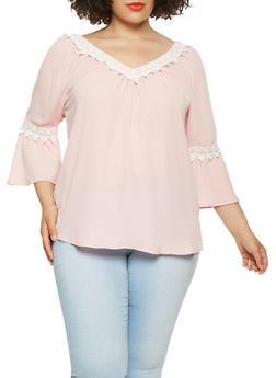 Plus Size Crochet Trim Slit Sleeve Top - 9406074091129