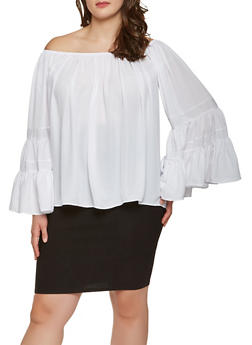 Plus Size Off the Shoulder Bell Sleeve Top - 9406074091130