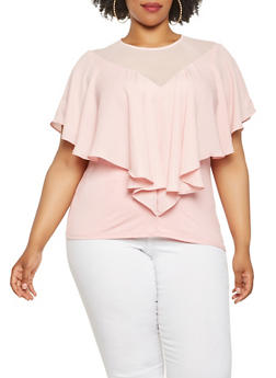 Plus Size Ruffle Overlay Mesh Detail Top - 9406074098031
