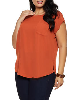 Plus Size Button Back Blouse - 9406075220855