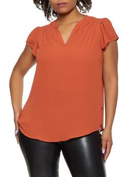 Plus Size Cap Sleeve Top - 9406075225193