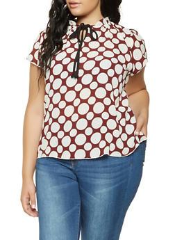 Plus Size Polka Dot Tie Neck Blouse - 9407020621638