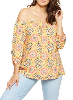 Plus Size Floral Off the Shoulder Top - 9407020621693