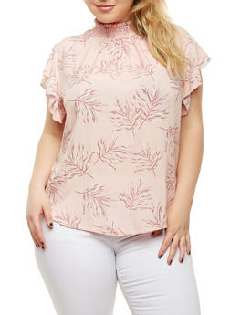Plus Size Printed Smock Neck Top - 9407020621919