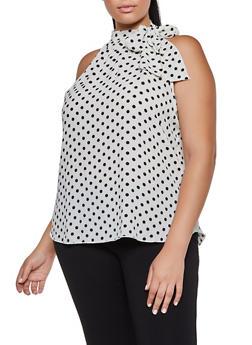 Plus Size Sleeveless Polka Dot Tie Neck Blouse - 9407020622641
