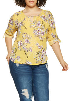 Plus Size Printed Blouse - 9407020622785