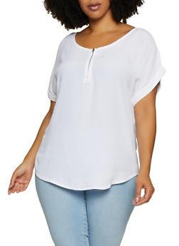 Plus Size Zip Detail Crepe Knit Blouse - 9407020623142