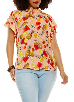 Plus Size Fruit Printed Blouse - 9407020623199