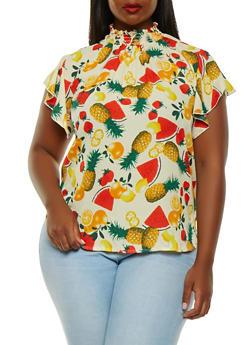 Plus Size Fruit Printed Blouse - 9407020623199