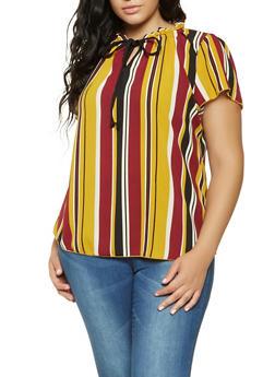 Plus Size Striped Tie Neck Blouse - 9407020623836