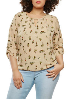 Plus Size Printed Keyhole Top - 9407020624625