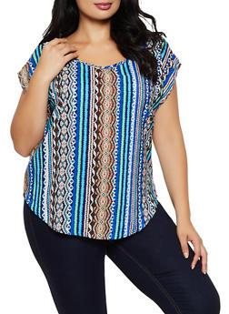 Plus Size Vertical Aztec Print Blouse - 9407020624802