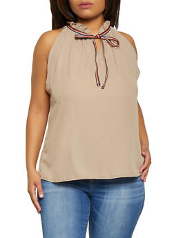 Plus Size Sleeveless Tie Neck Blouse - 9407020626213