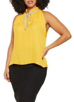 Plus Size Sleeveless Tie Neck Blouse - 9407020626213