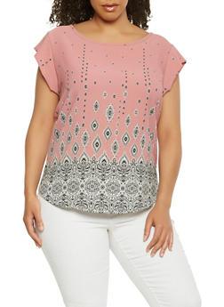 Plus Size Border Print Crepe Knit Top - 9407020626256