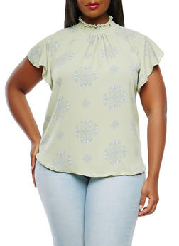 Plus Size Smocked Neck Top - 9407020626591