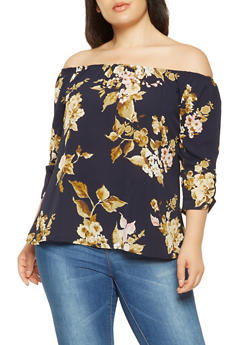 Plus Size Printed Off the Shoulder Top - 9407020626938