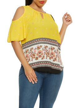 Plus Size Cold Shoulder Border Print Top - 9407020627775