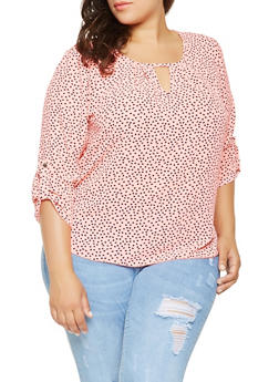 Plus Size Printed Blouse - 9407020627859