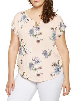 Plus Size Metallic Neck Detail Floral Top - 9407020628244