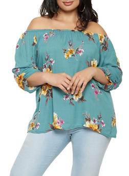 Plus Size Floral Off the Shoulder Top - 9407020629319