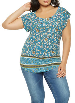 Plus Size Printed Blouse - 9407020629369