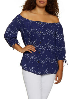 Plus Size Crepe Knit Off the Shoulder Printed Top - 9407020629474
