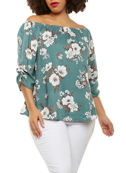 Plus Size Ruched Sleeve Off the Shoulder Top - 9407020629969