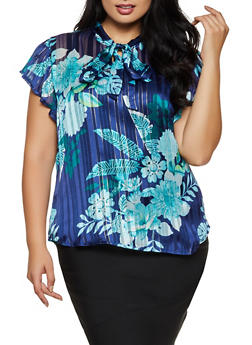 Plus Size Floral Lurex Blouse - 9407030849777