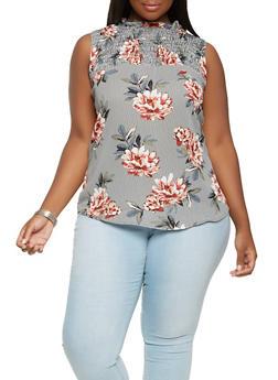 Plus Size Floral Smocked Yoke Top - 9407051060175